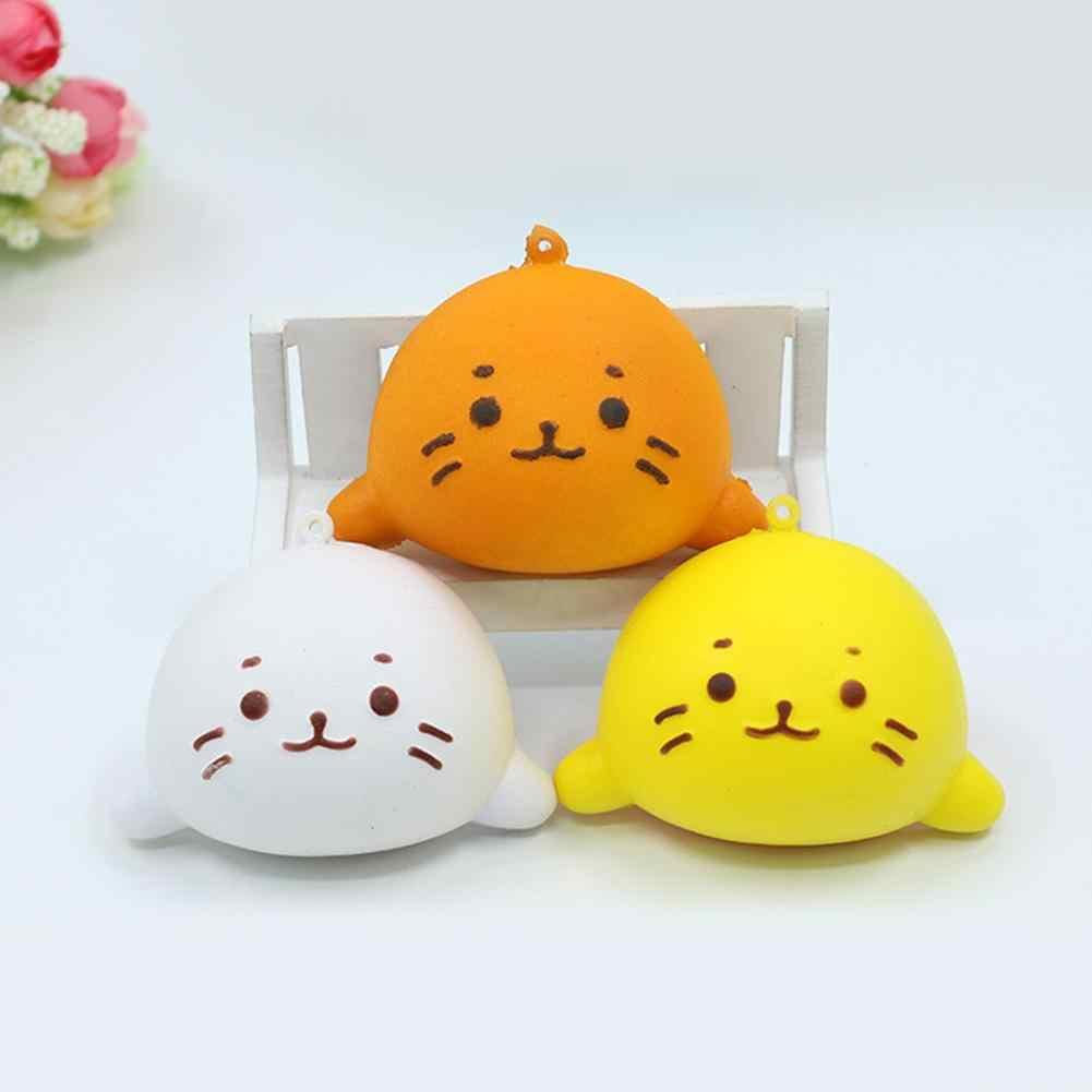 Lindo expresión Facial colorido de la PU simulación gato Kawaii suave rebote con pan de nuevo PU Squishy Squeeze aliviar el estrés