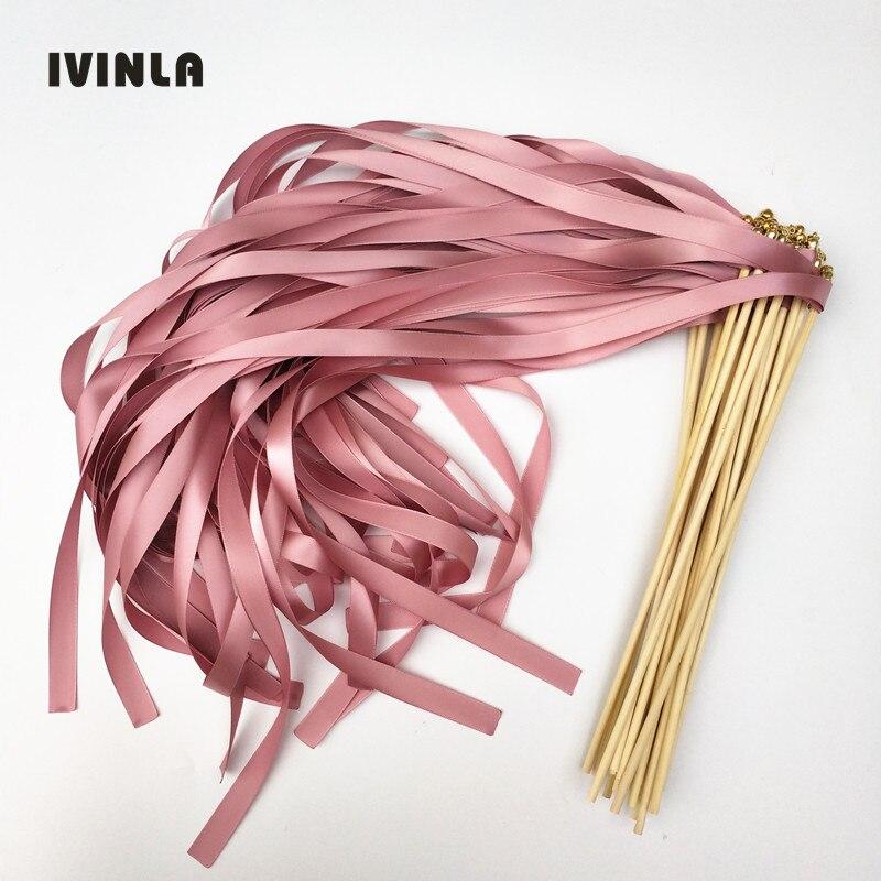 50pcs/lot  dark pink wedding ribbon wands with gold bell  ribbon Twirling Streamers,ribbon wish stick
