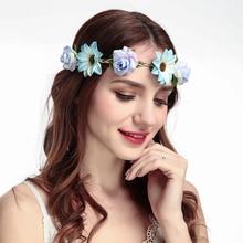 Летние свадебные цветочные ободок лента дети венок для вечеринок цветочные гирлянды с лентой регулируемого размера с цветком Корона Роза для женщин