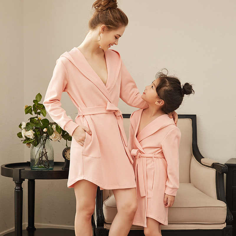 b884c385ea798c ... Family Pajamas Mother Daughter Bathrobe Matching Outfits Mommy and Me  Winter Clothes Sister Dress Robe Mom ...