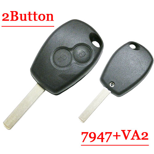 Free shipping 2 Button Remote Key With VA2 Blade pcf7947 chip Round Button for Renault 5