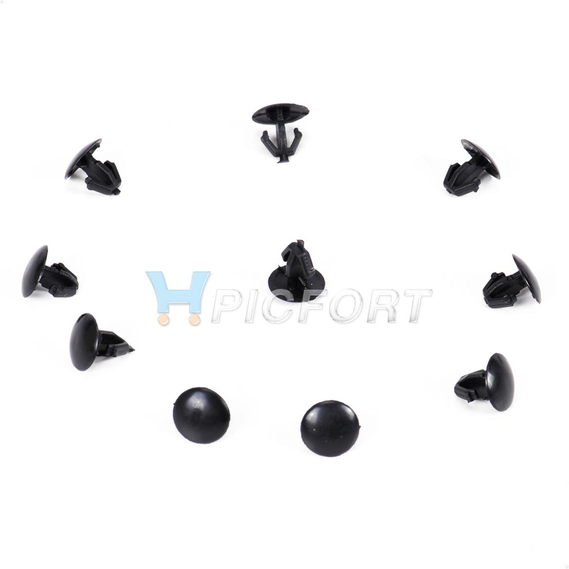DWCX 10x Black Nylon Retainer Hood Seal Retaining Clip 91518-S10-003 for Honda Acoord Odyssey Acura RL RDX MDX Fit into 6mm Hole