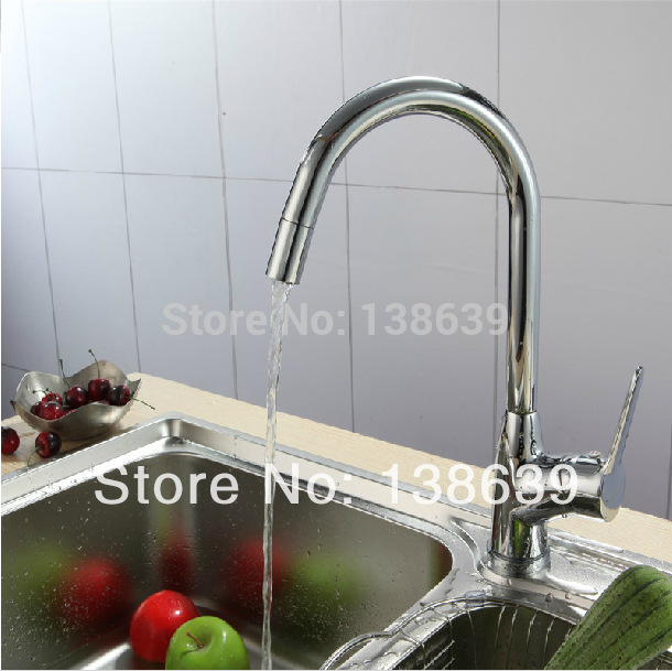 Free shipping 2014 new design brass single handle kitchen faucet wholesale hot and cold vegetables basin