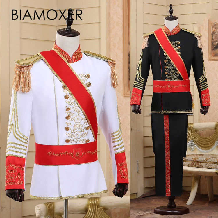 Bimaoxer 2 colors Renaissance Men King Prince Party Cosplay Costume Black White Jacket Pant Full Set Halloween