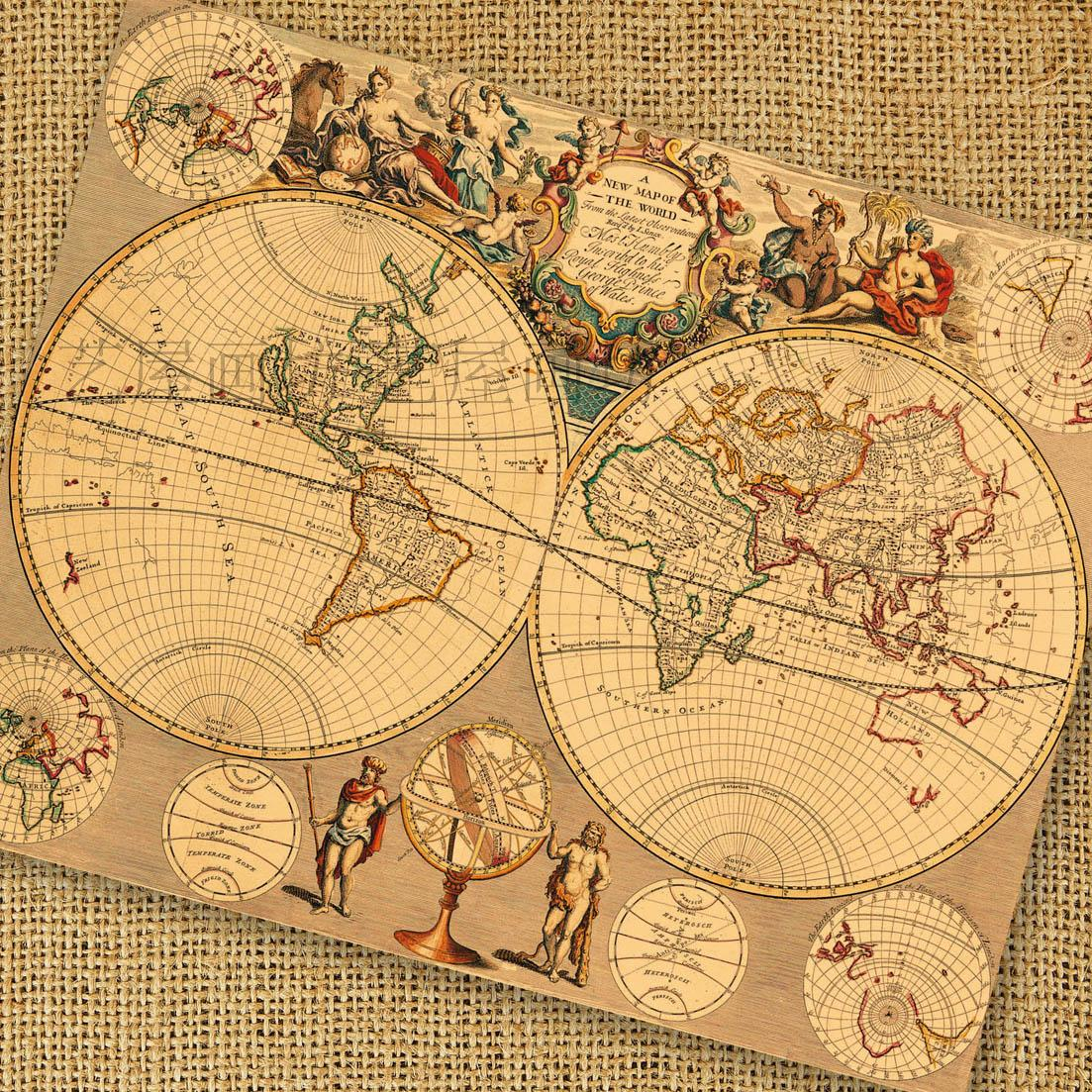 Map nostalgic vintage cowhide paper large big measurement decorative painting core mural old compass map poster