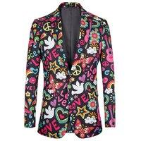 2018 new fashion mens jacket slim fit Halloween print floral Men suits blazer euro plus size 4XL Tuxedo prom men clothing