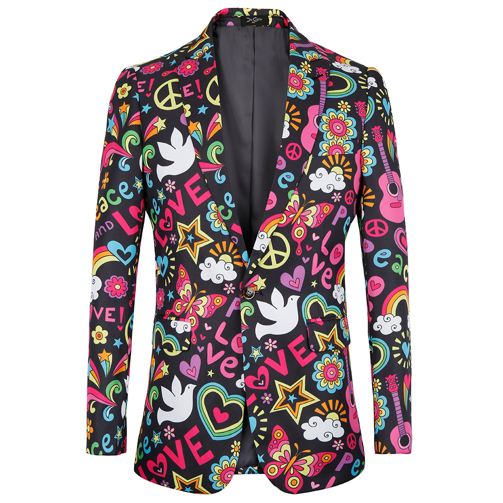 2019 new fashion mens jacket slim fit Halloween print floral Men suits blazer euro plus size 4XL Tuxedo prom men clothing