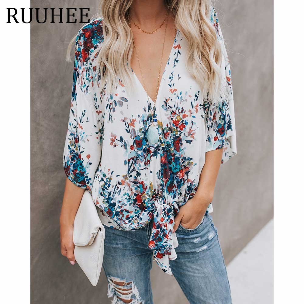 Mode 2019 col en v à manches longues blouse camicia donna chemise femme manche longue d'été blouse camisas mujer chemisier