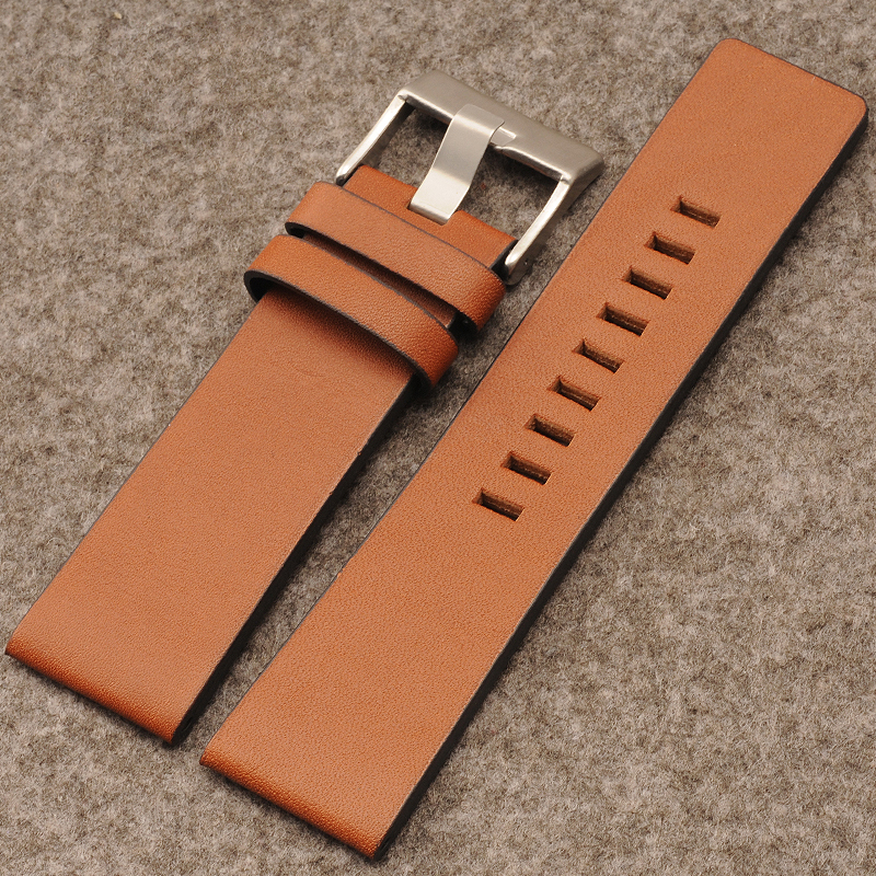 Retro brown leather watch strap leather men and women substitute for DZ7313 | DZ7322 | DZ7257 24mm watch accessories durable 20 24 26 27 28 mm soft watch bands for diesel watch dz7313 dz7322 dz7257 women s men s watch straps with sliver buckle