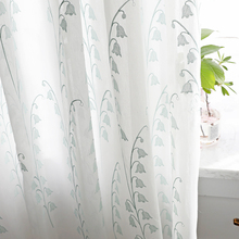 Chicity White luxurious Tulle Curtains For Living room Embroidered Lily of the valley  tulle for bedroom and kitchen Customized