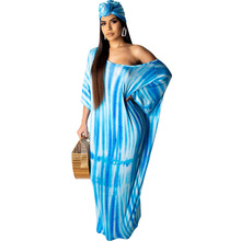 """Для женщин летние сексуальные длинные платья на одно плечо рукав """"летучая мышь"""" полосатый принт пляж свободное платье День платок Vestidos"""