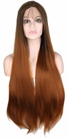 QQXCAIW Natural Hairline Hair Lace Front Wig Synthetic Hair Long Straight Brown Root Ombre Fully Hair Wigs For Women