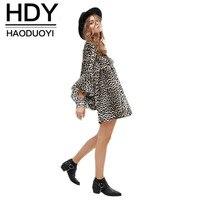 HDY Haoduoyi 2017 Moda wiosna Kobiety sexy hollow koronki głęboki Dekolt głośnik rękawem leopard mini wysokiej talii sukienka temperamentu