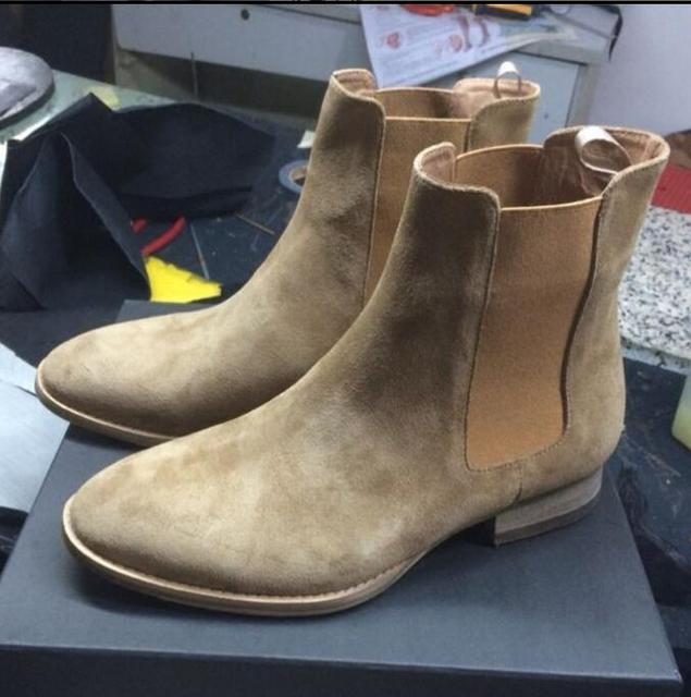 2019 FR.LANCELOT Brand Hot Sales Suede Leather Chelsea Boots Men Ankle Boots Slip On Top Quality Top High Men Shoes