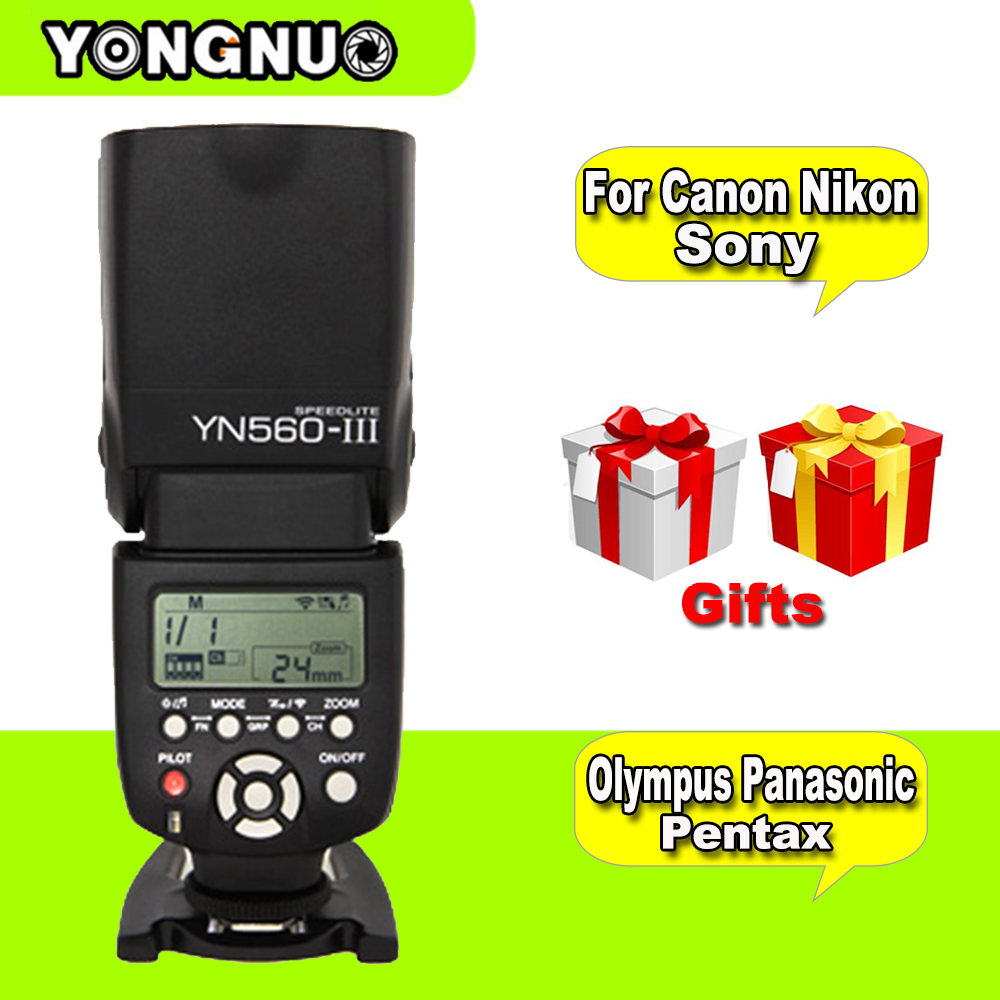 For Canon Nikon Pentax Olympus Sony DSLR Cameras Universal YONGNUO Wireless Flash Speedlite YN560III YN-560III Light VS IN-560IV godox tt560 camera flash speedlite for canon 60d 550d 600d 700d 1000d 1100d nikon sony panasonic olympus fujifilm dslr cameras