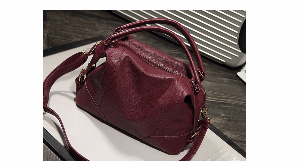 Women Fashion Soft PU Leather Handbag Lichi Pattern Female High Quality Casual Shoulder Bag Classic Solid Tote Dollar Price TTOU (8)