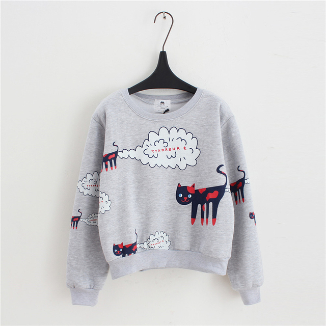Loose Casual Sweatshirt With Cat Print
