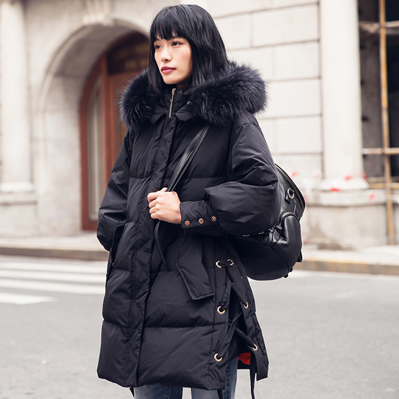 Winter 90% White Duck   Down     Coat   Women Hooded Long Parka 2019 New Arrival Womens Natural Large Raccoon Fur Collar   Down   Jacket