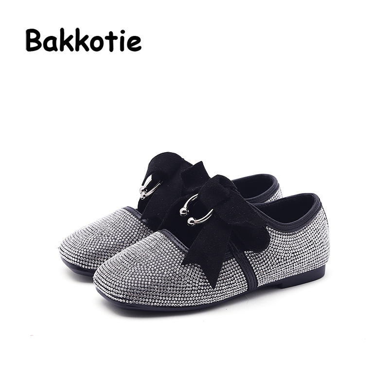 Bakkotie 2018 Spring New Fashion Children Princess Rhinestone Flat Baby Girl Bow Shoe Kid Pu Leather Cute Party Brand Mary Jane