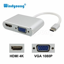 USB C to HDMI 4K VGA 1080P Type C to HDMI VGA Adapter USB-C Support 4K*2K 1080P for Macbook Google Pixel Type-c to HDMI VGA цена и фото