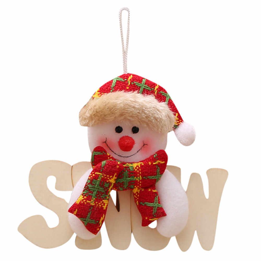 2019 Navidad украшения деревянные буквы кукла Рождественская елка кулон украшения для рождественской вечеринки для дома детские подарки @ 20