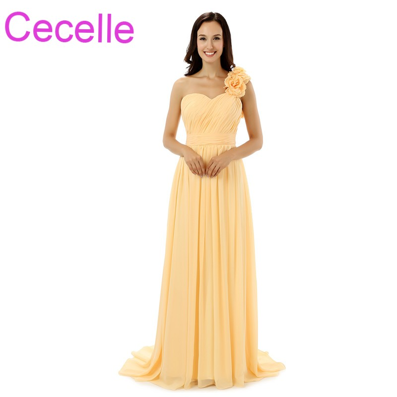 Yellow Chiffon Long Beach   Bridesmaid     Dresses   One Shoulder Ruched Top A-line Women Formal Wed Party   Dress   Elegant Simple Sale