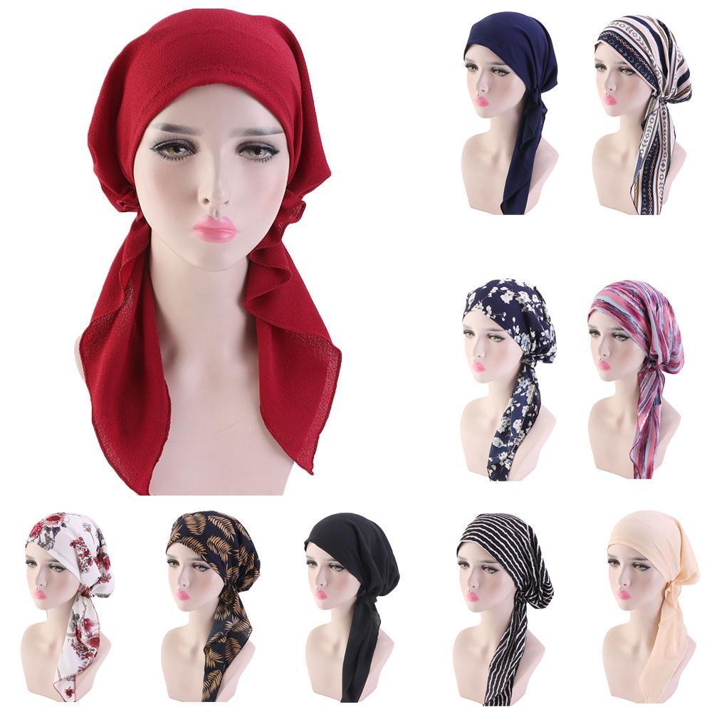 Muslim Full Cover Inner Hijab Cap Islamic Head Wear Hat Underscarf Bandage Beautiful Lace Up Turban For Women Headscarf Fashion