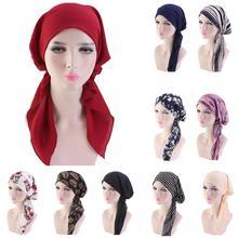 Muslim Full Cover Inner Hijab Cap Islamic Head Wear Hat Underscarf Bandage Beautiful Lace Up Turban For Women Headscarf Fashion