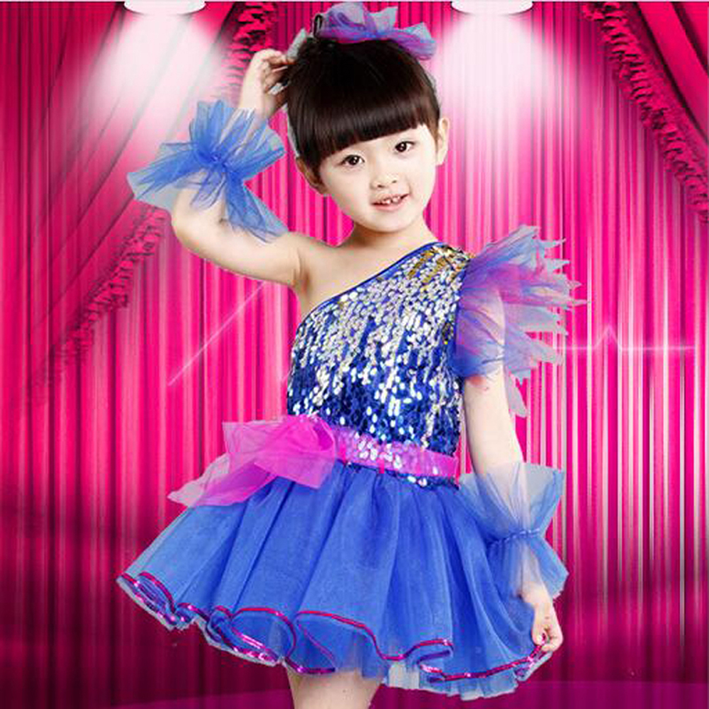 Children's performance clothing sequined veil new girls kindergarten princess tutu skirt Moderator stage latin dance dress