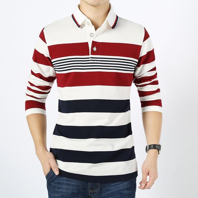 Moda Stripted hombre Polo marca camisa nueva primavera 2016 para hombre de manga larga camisas de Polo del algodón más el tamaño M-4XL