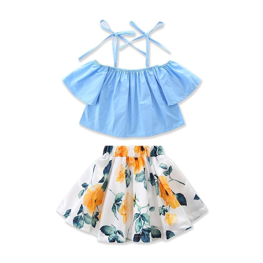 New-Fashion-Children-Girls-Clothes-Off-shoulder-Flare-Sleeve-Denim-T-shirt-TopsFloral-Skirt-2PCS-Outfits-Kids-Clothing-Sundress-4