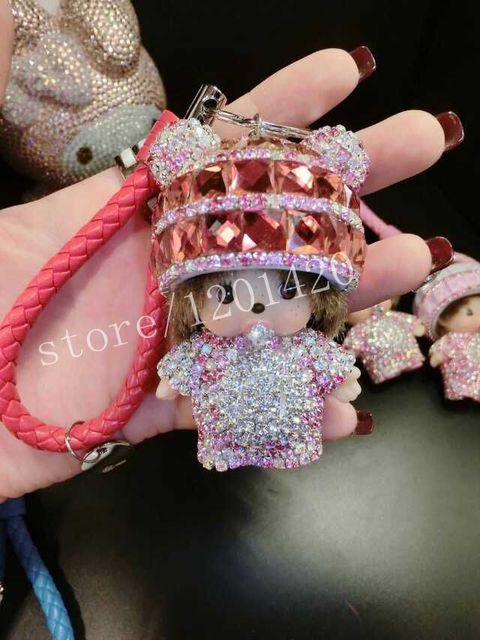 monchichi keychains fur ball key chains keyring handbag charm
