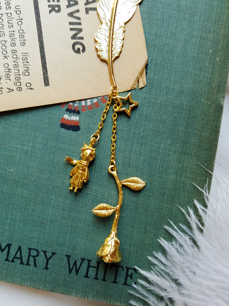 Little Prince And Rose Vintage Golden Feather Style Ins Metal Bookmark  Book Markers  Bookmark Tassel