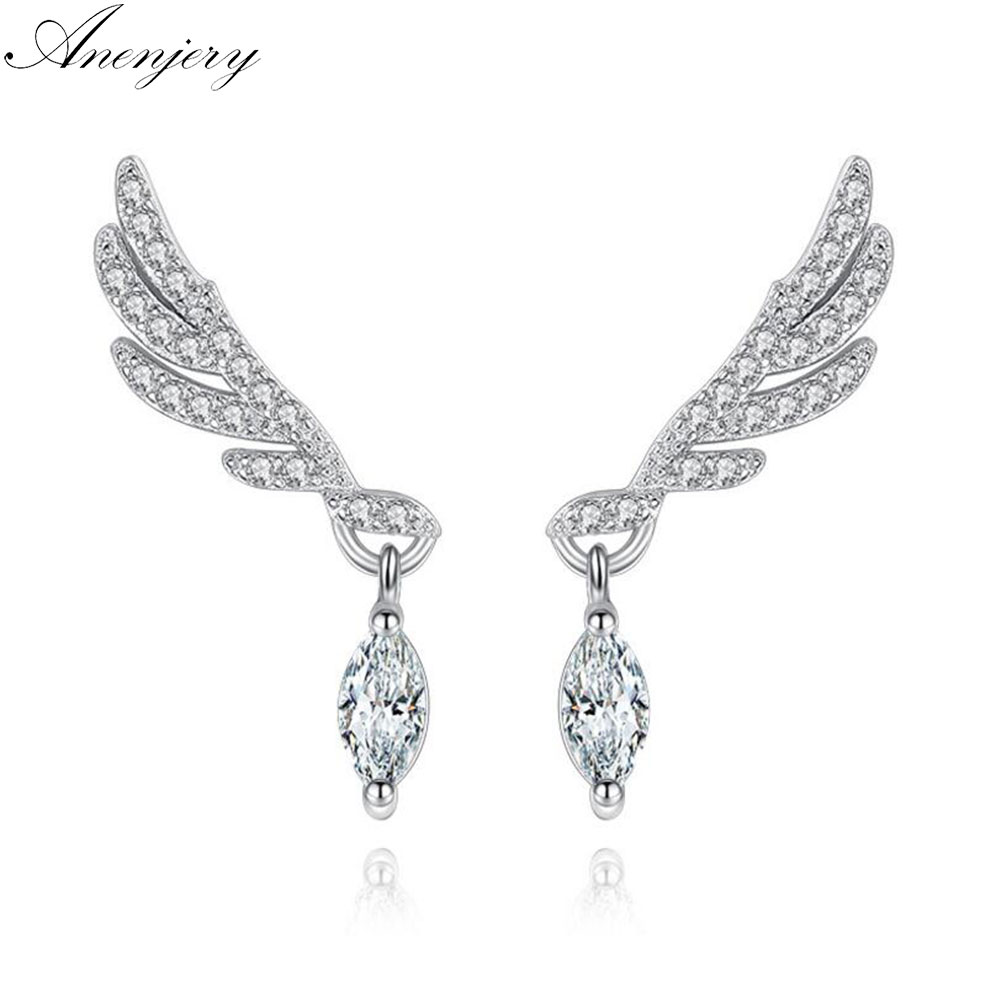 Anenjery New Fashion 925 Sterling Silver Angle Wings Feather Zircon Stud Earrings For Women Pendientes Brincos S-E268