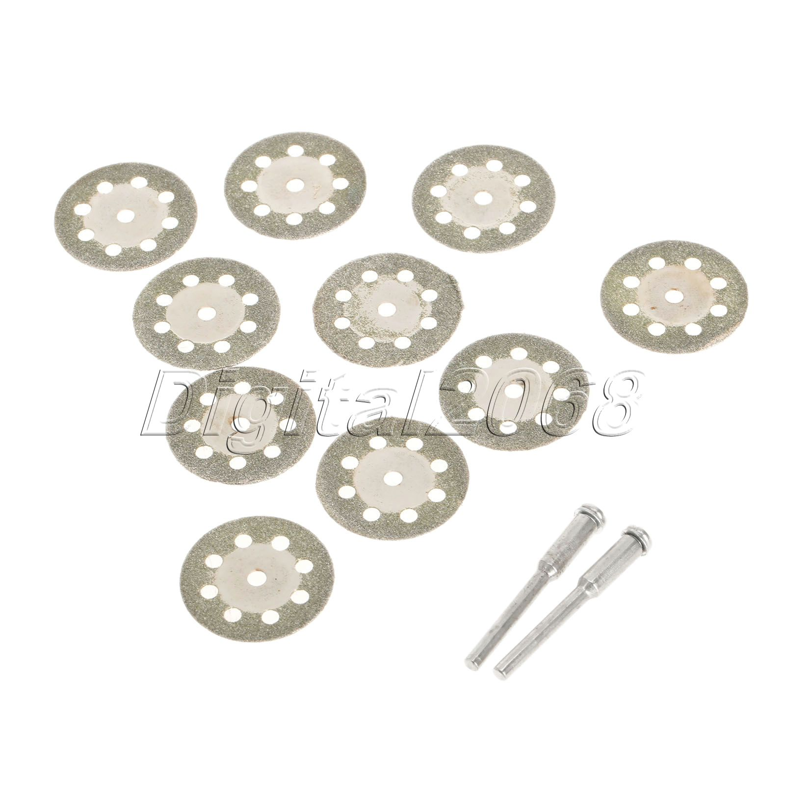 Hot 10pcs Diamond Circular Saw Blades Cutting Cut Off Wheel Discs + 2pcs Mandrel For Dremel Rotary Tool Cutter Power Tools 25mm