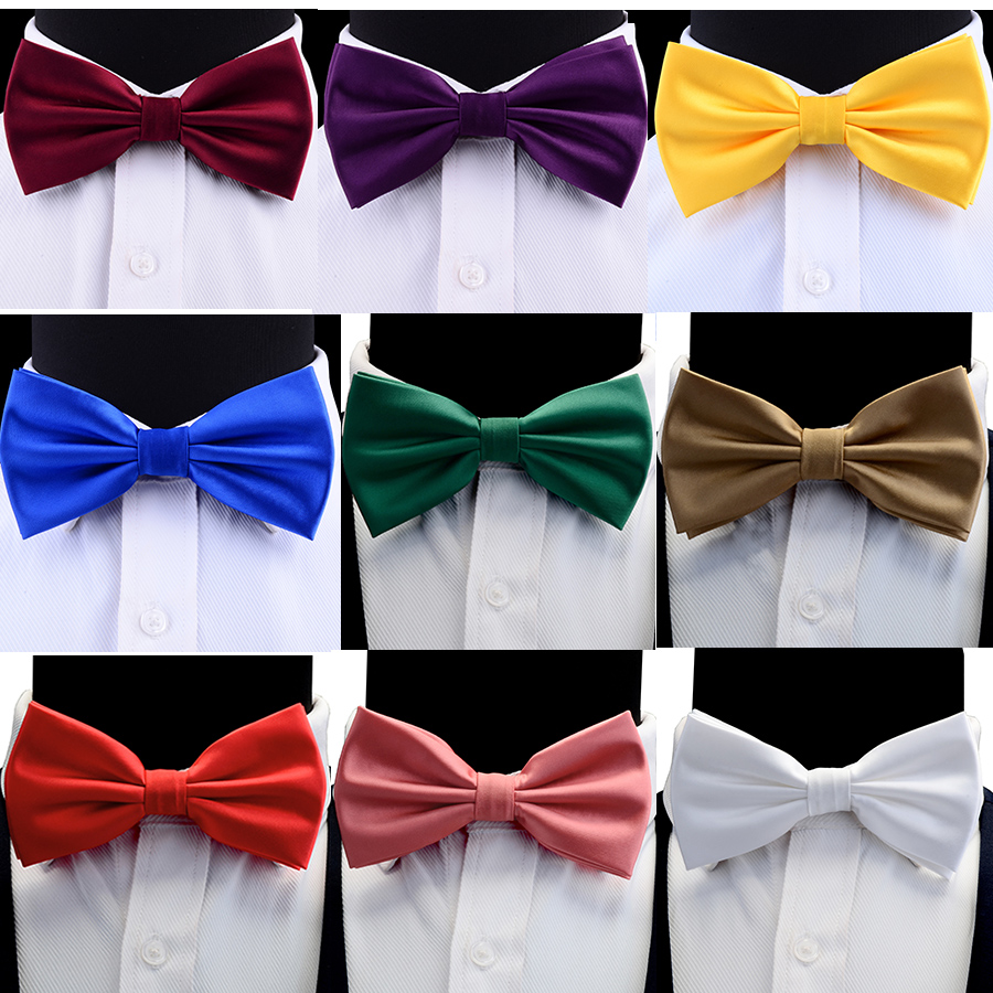 GUSLESON Silk Solid Pre-tied Bow Tie For Men Purple Black Yellow Double Fold Bow Ties Waterproof Wedding Business Bowtie