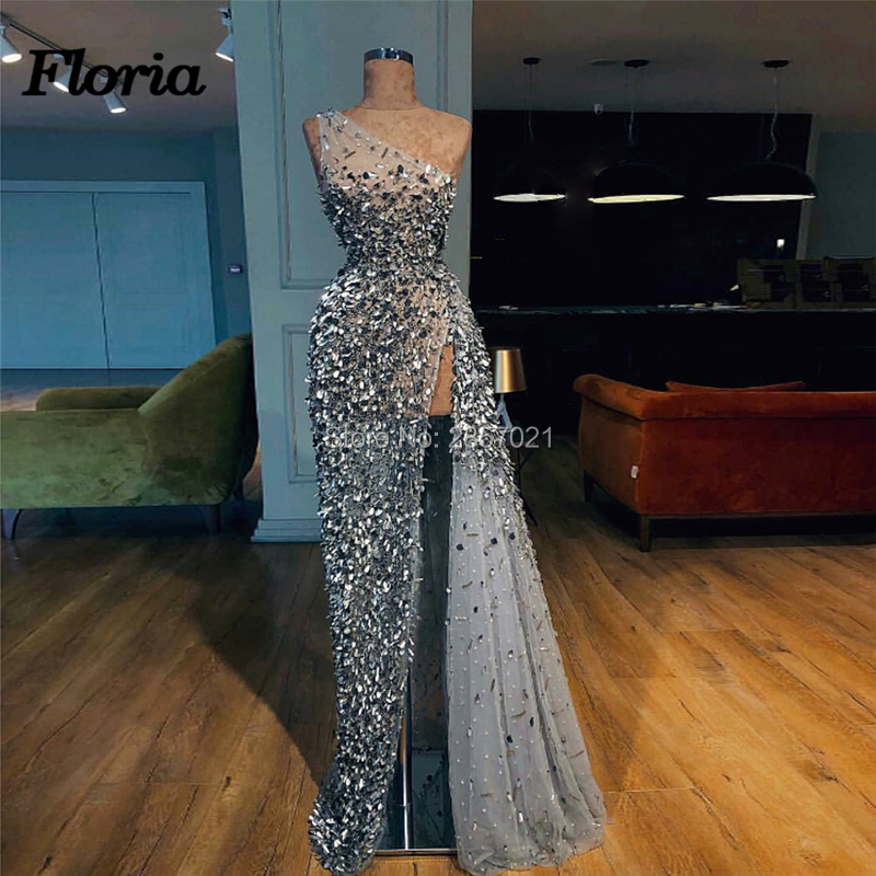 Arabic Beading High Split   Evening     Dresses   Dubai Turkish 2018 Vestidos de festa Prom   Dress   Glitter Formal Party Gowns Kaftans