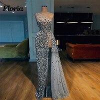 Arabic Beading High Split Evening Dresses Dubai Turkish 2018 Vestidos de festa Prom Dress Glitter Formal Party Gowns Kaftans