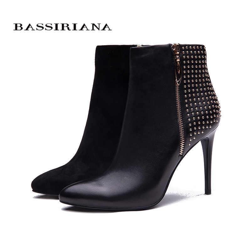 BASSIRIANA Seksi Kadın Çizmeler Zip Yüksek topuklu Çizmeler Bayan Sivri Burun yarım çizmeler Ücretsiz kargo BASSIRIANA