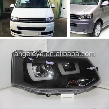 For Volkswagen T5 Led Strip Head Lamp for Caravelle Multivan LED Headlights 2011 to 2014 year JY