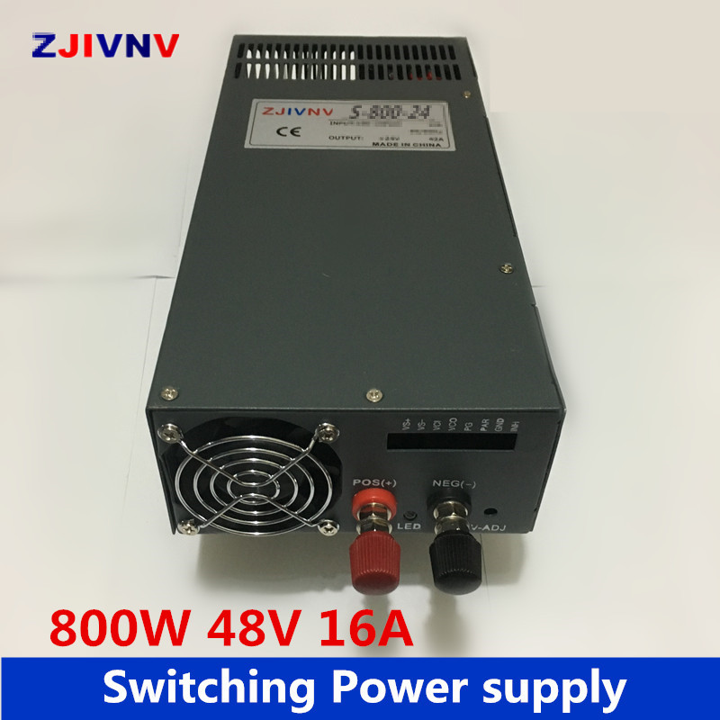 industrial and led used 800W switching power supply 48V 16A AC DC power supplyunit input 110vAC or 220vAC dc power 220VAC-48V