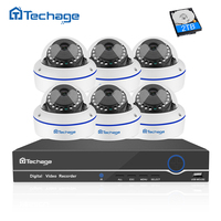 Techage 6PCS Security Camera CCTV System 8CH 1080P POE NVR Kit Dome Vandalproof IP Camera P2P