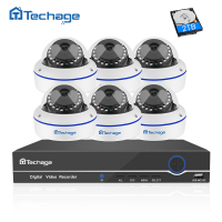 Techage 8CH 1080P POE NVR CCTV System 6PCS Vandalproof Anti Vandal Dome Indoor IP Camera Onvif