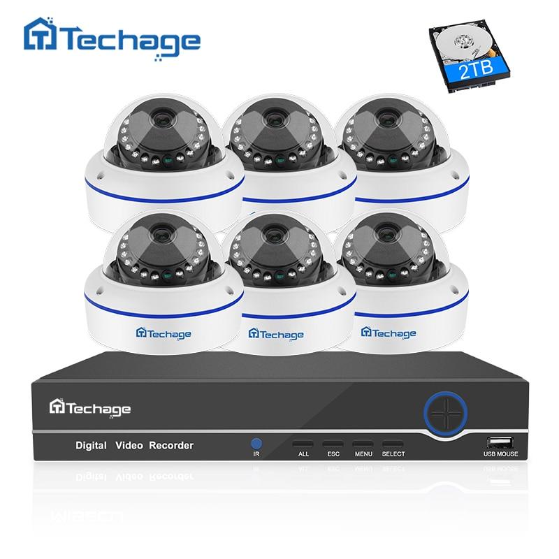 Techage 8CH 1080 P POE NVR CCTV Système 6 PCS Anti-Vandalisme Anti-vandalisme Dôme Intérieur Caméra IP Onvif Sécurité Système de Surveillance