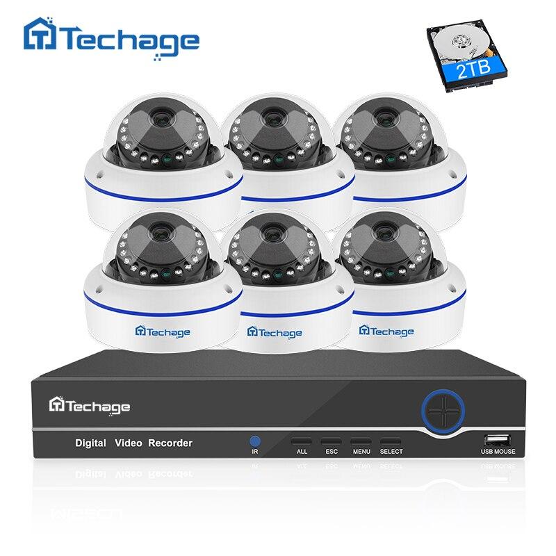 Techage 8CH 1080 P POE NVR CCTV-System 6 STÜCKE Vandalproof vandalismus Kuppel Innen Ip-kamera Onvif Sicherheit Überwachungssystem