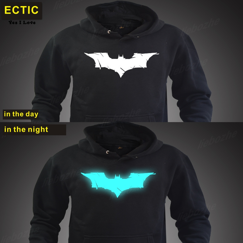 Ectic Batman fashion mens hoodies luminous sportswear male sweatshirt tracksuits hoody clothing man plus size XXL