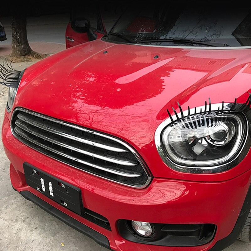 2pcs 3D Charming Fake Eyelashes Car Headlight Sticker