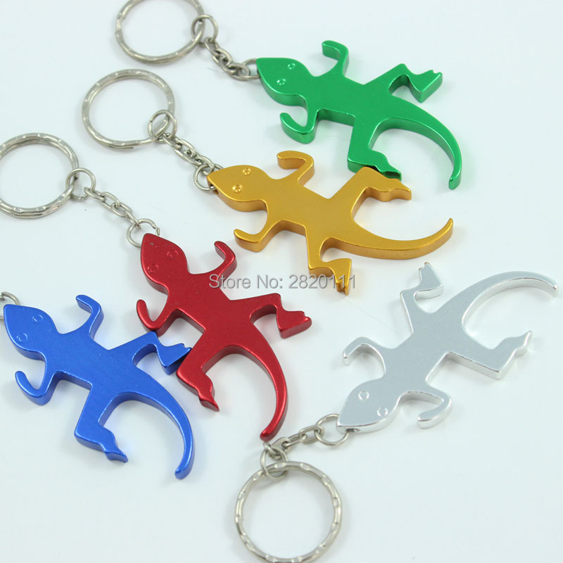 Wholesale 72Pcs Gecko &Lizard Bottle Opener Keychain Aluminum Alloy Beer opener Promotion Keyring Gift Customize Logo  free ship-in Key Chains from Jewelry & Accessories    1