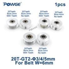 POWGE 2GT 20 зубьев синхронного колеса отверстие натяжного шкива 3 мм 4 мм 5 мм с подшипником для GT2 зубчатый ремень Ширина 6 мм 20 зубьев 20 т 1 шт