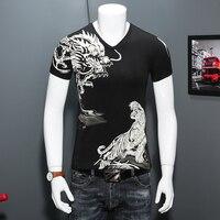 Marka Mężczyźni Koszulki Moda 2017 Lato Zwierząt Drukuj Slim Fit T koszulka Męska Z Krótkim Rękawem V Neck Casual Koszulkę Homme Black/White